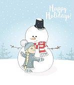 Little girl hugs snowman. Christmas greetings postcard. Happy Holidays