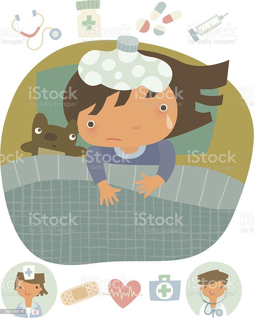 Little girl in bed vector art illustration