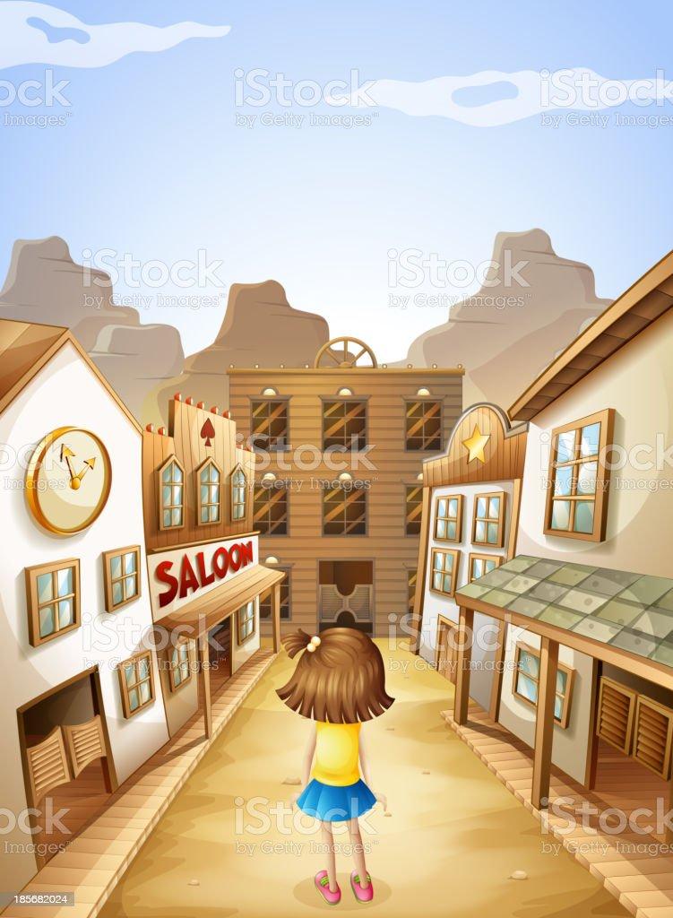 little girl in middle of the saloon bars vector art illustration