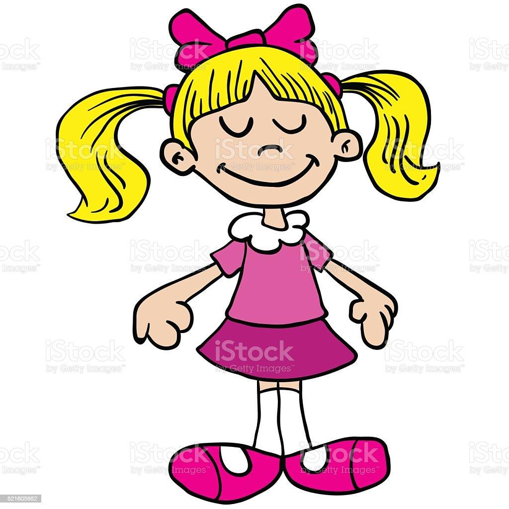 little girl in pink dress cartoon vector art illustration