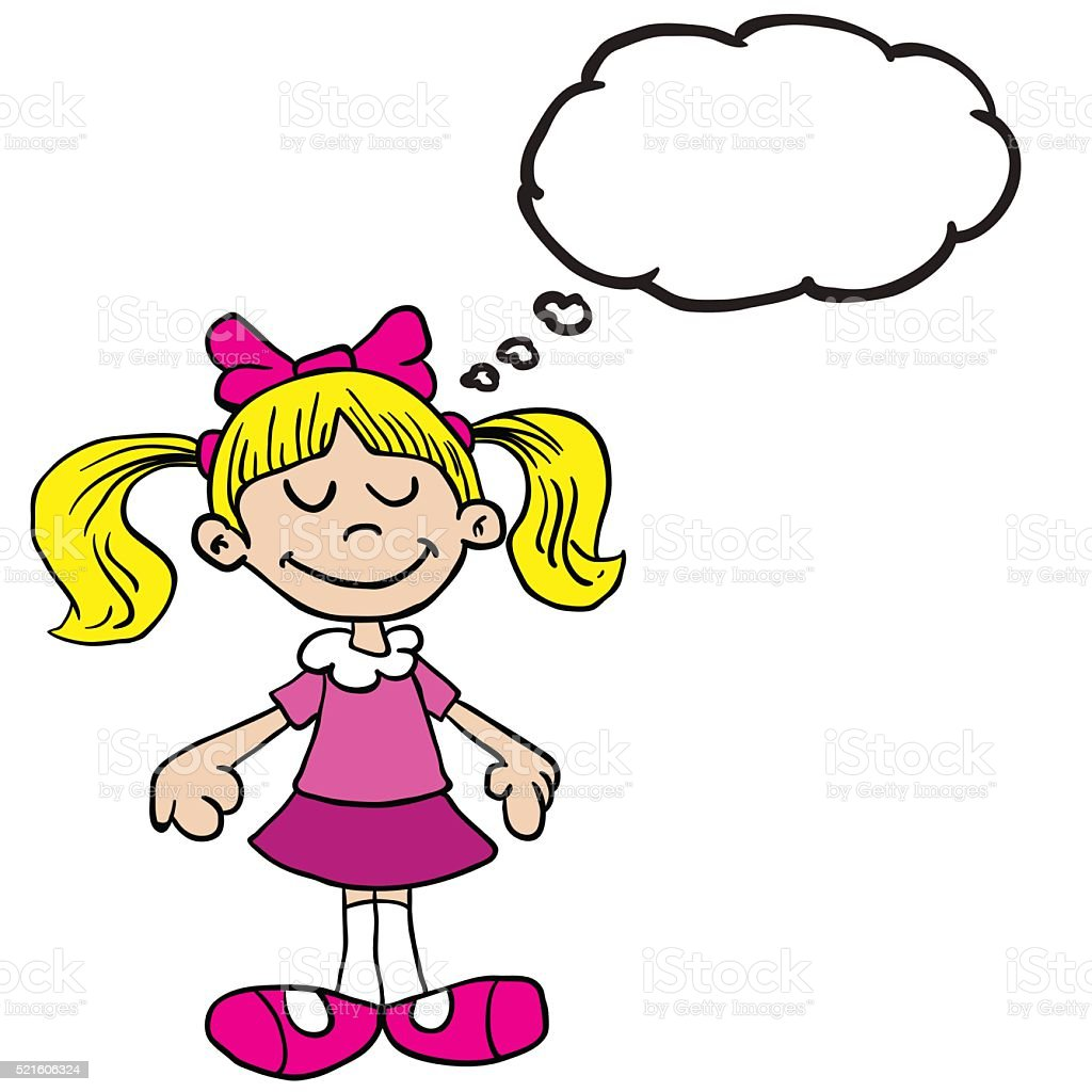 little girl in pink dress with thought bubble cartoon vector art illustration