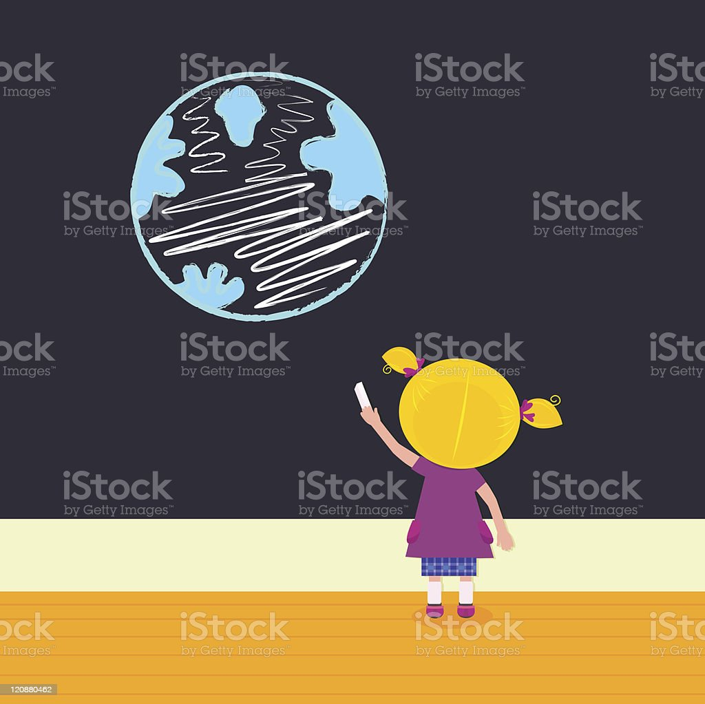 Little girl in school painting Earth on the black board royalty-free stock vector art