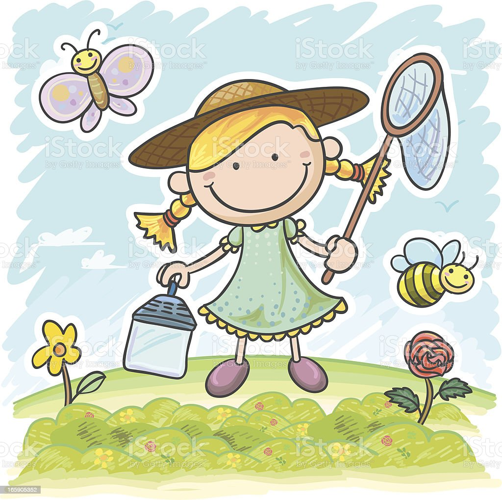 Little girl in the garden, catching butterfly royalty-free stock vector art