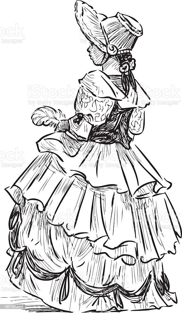 little girl in the historical costume vector art illustration