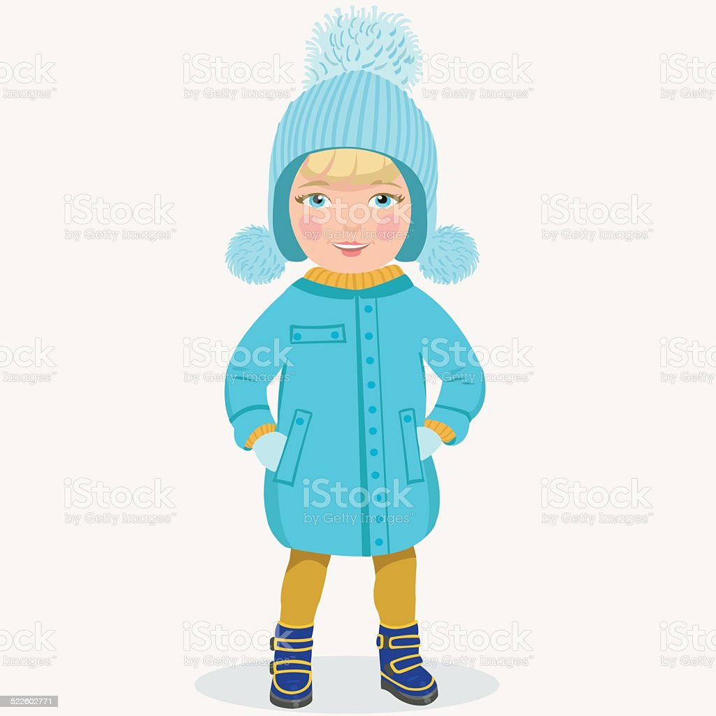 little girl in winter clothes royalty-free stock vector art