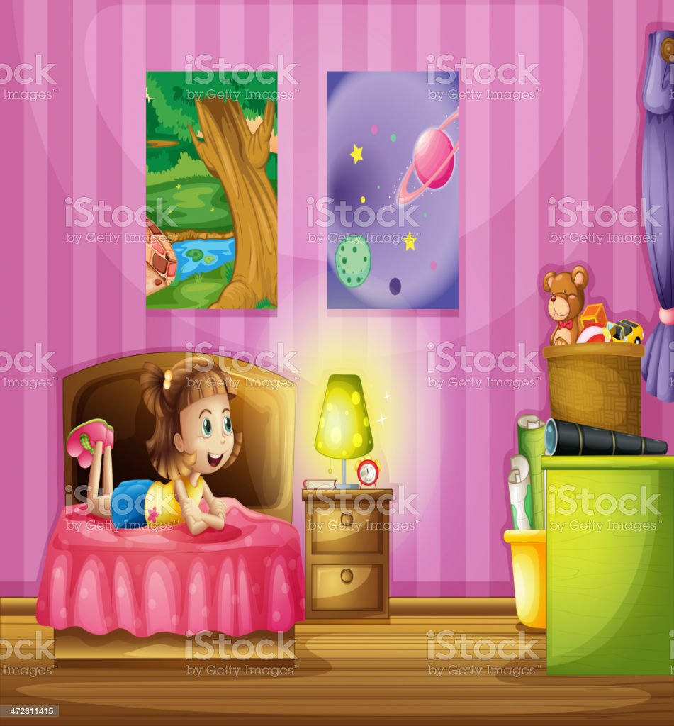 Little girl inside her colorful room royalty-free stock vector art