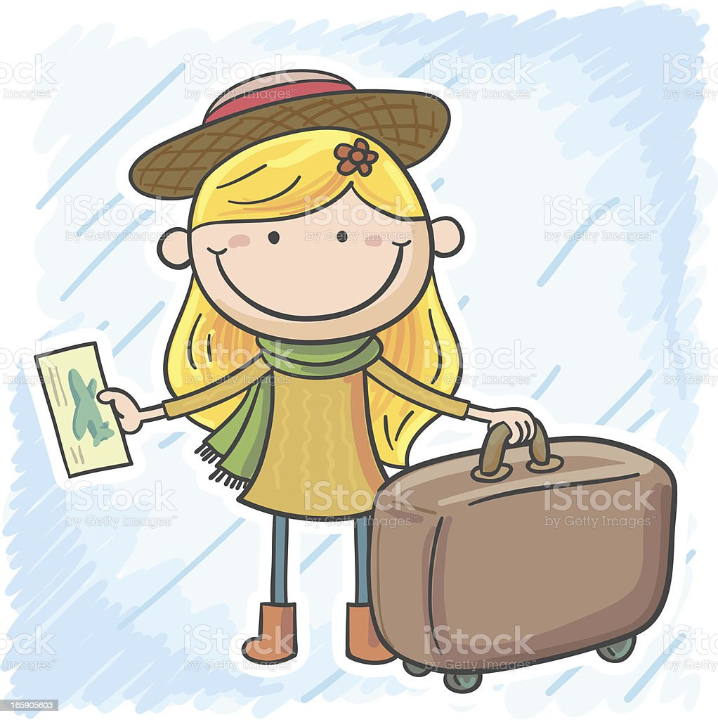 Little girl is going for a trip royalty-free stock vector art