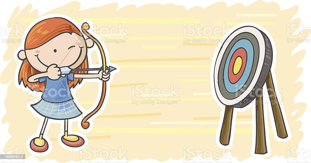 Little girl is playing target shooting royalty-free stock vector art
