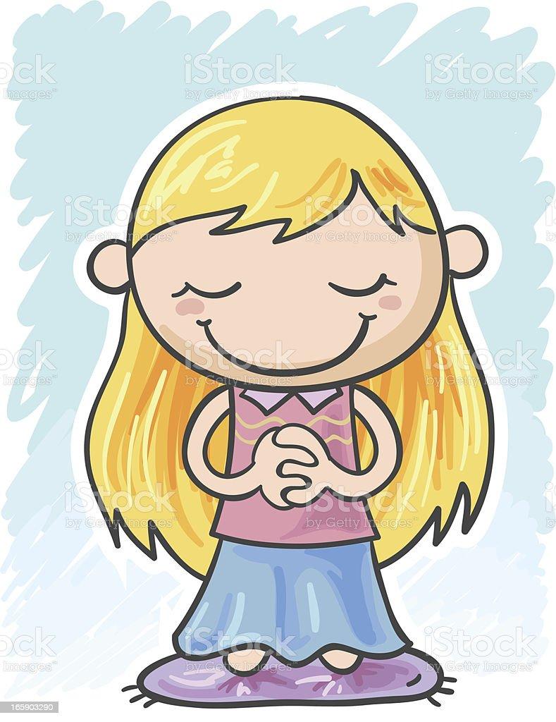 Little girl is praying royalty-free stock vector art