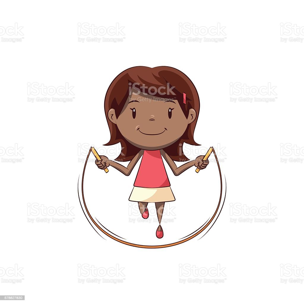 Little girl jumping rope vector art illustration