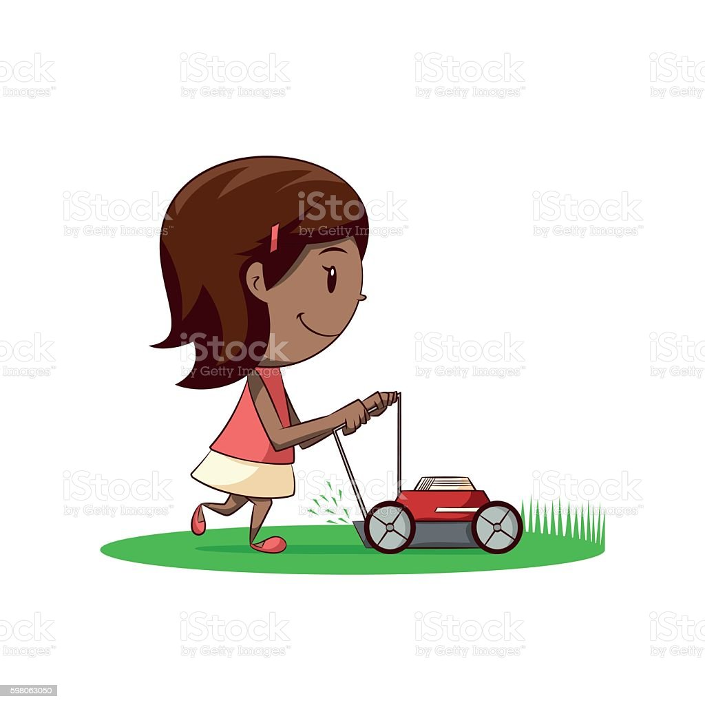Little girl lawn mower vector art illustration
