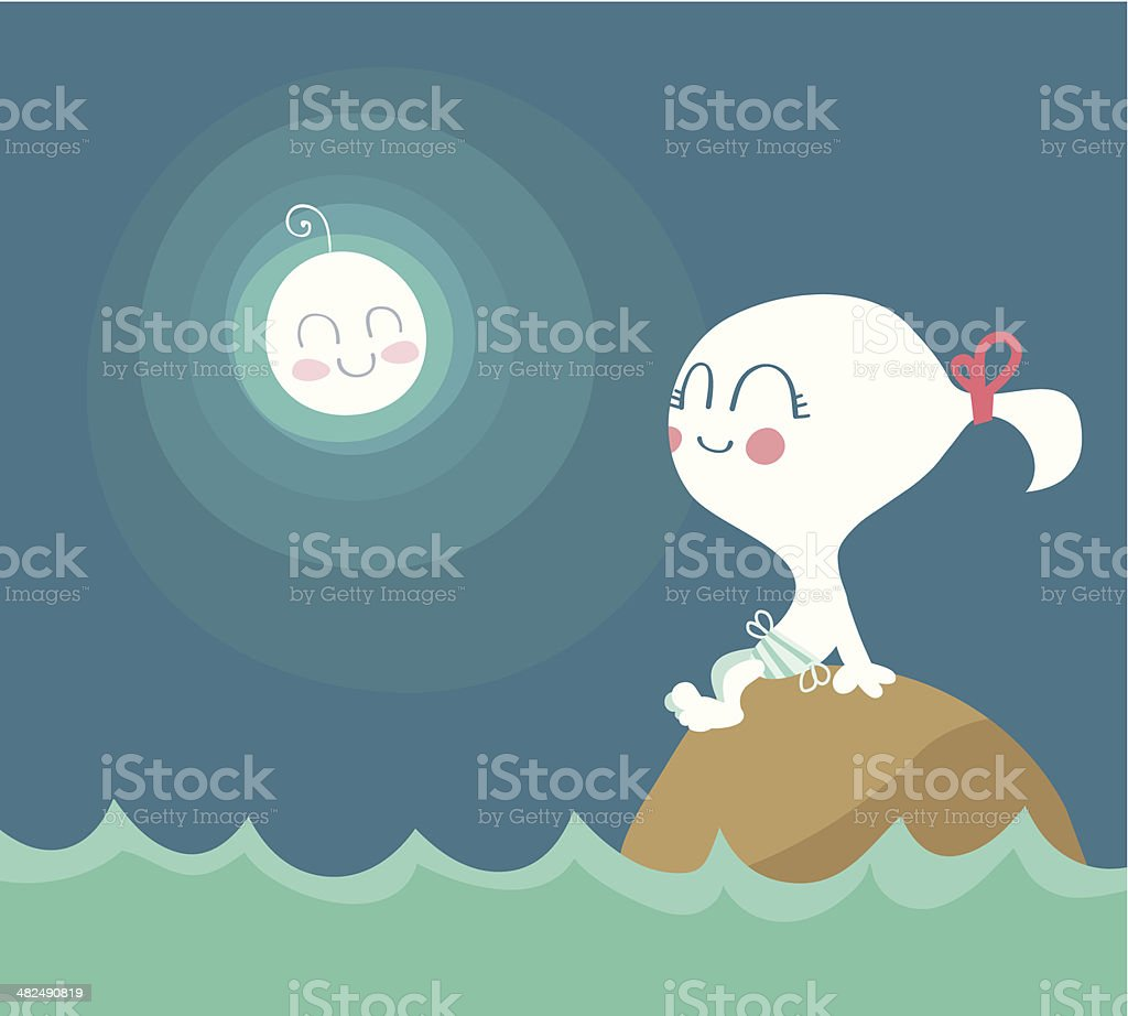 Little Girl looking at the moon royalty-free stock vector art