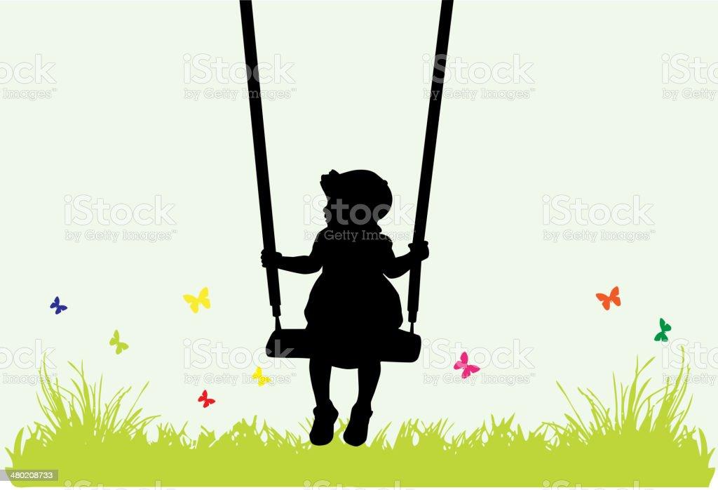 Little girl on a swing . vector art illustration
