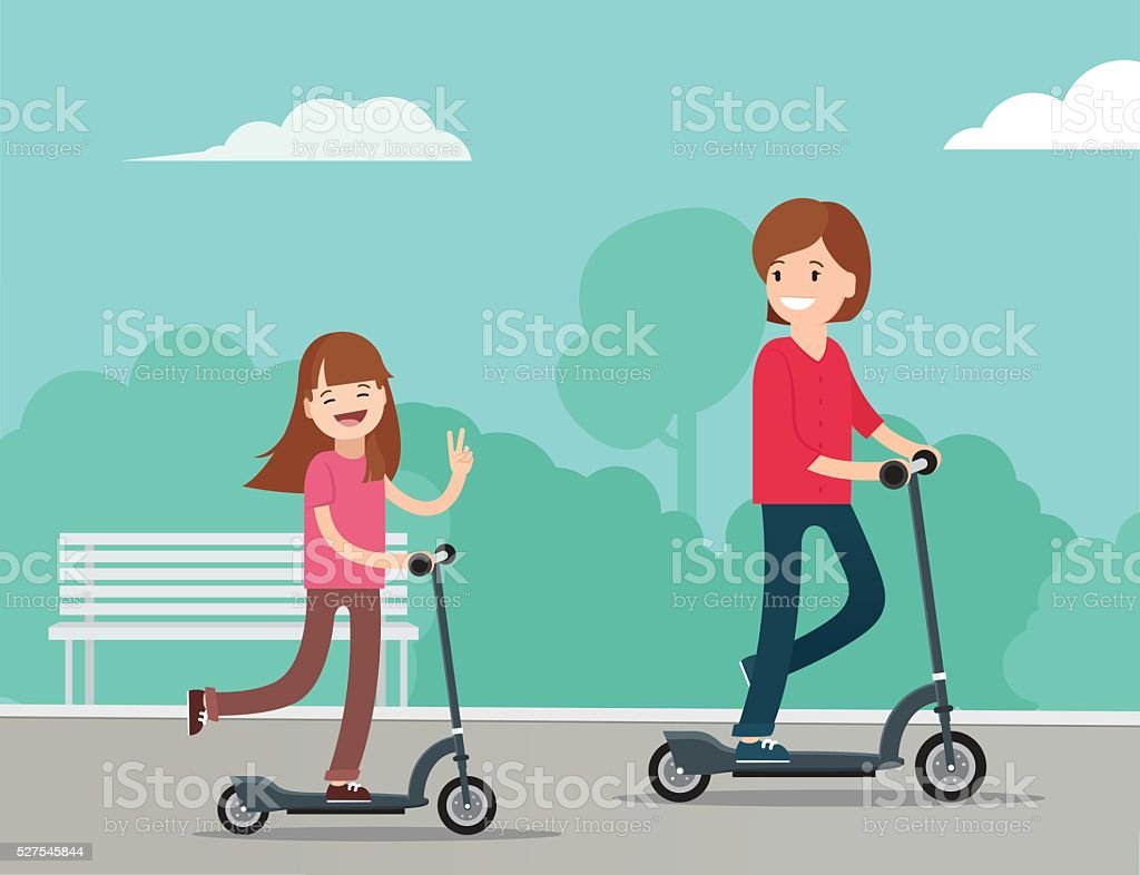 Little girl on scooter have fun with mother in  park vector art illustration