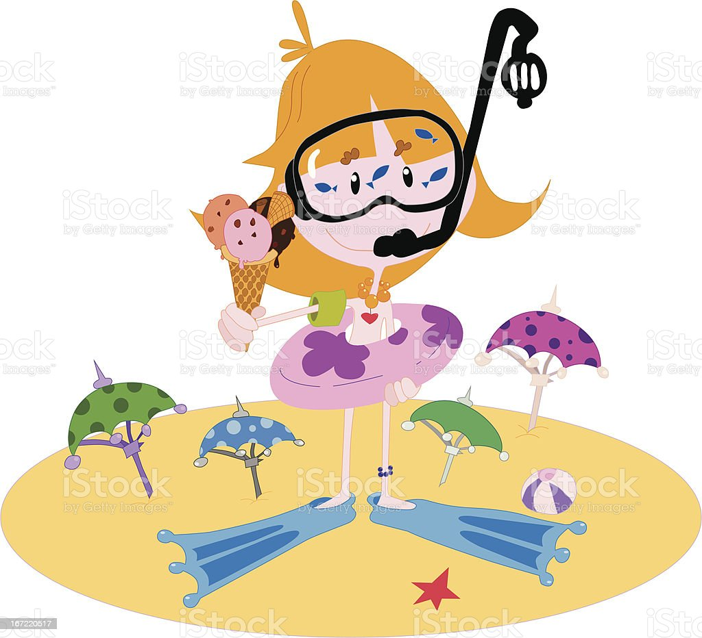 Little girl on the beach royalty-free stock vector art
