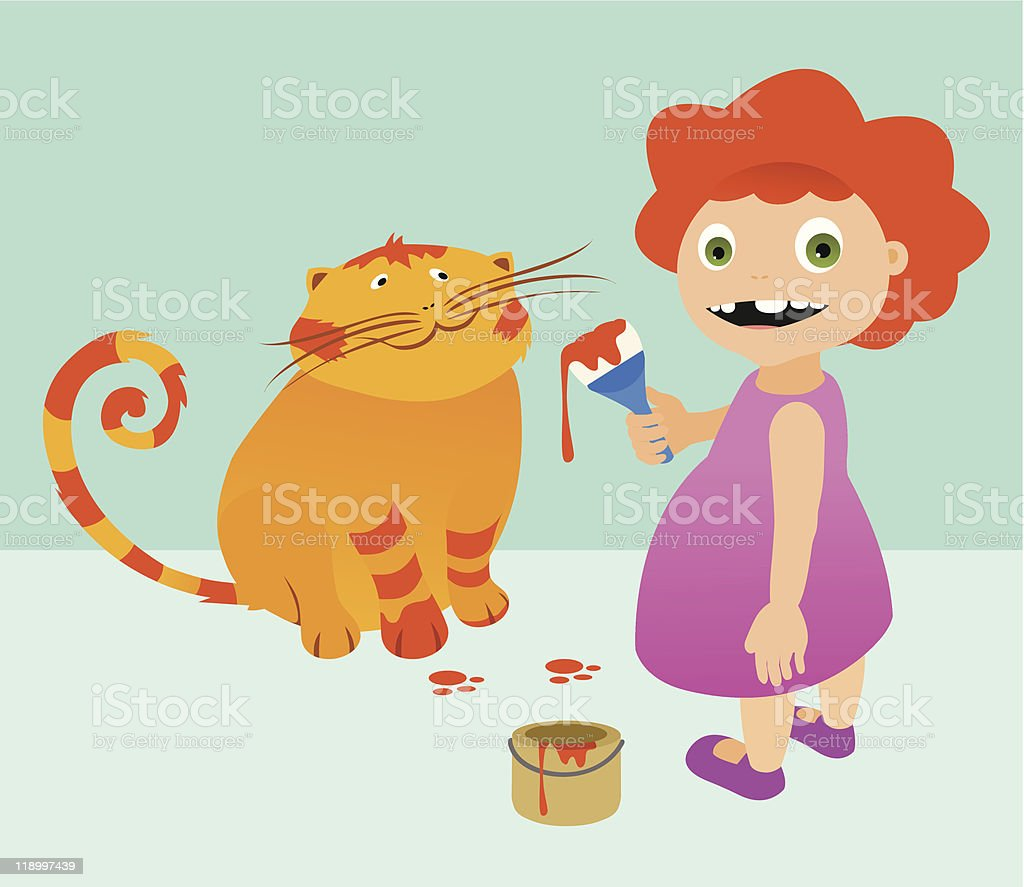 Little Girl Painting a Cat royalty-free stock vector art