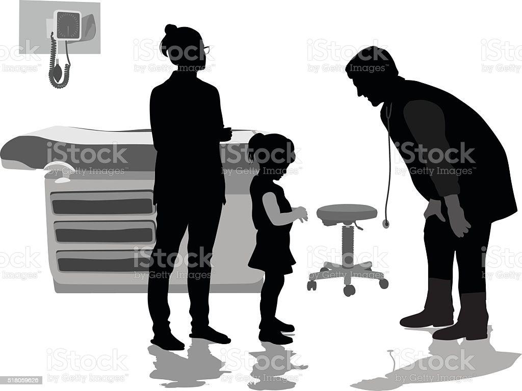 Little Girl Patient Telling The Pediatrician vector art illustration