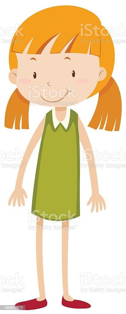 Little girl  pigtail vector art illustration