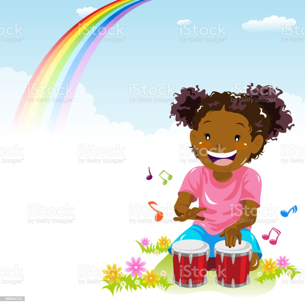 Little Girl Playing Bongo in Spring vector art illustration