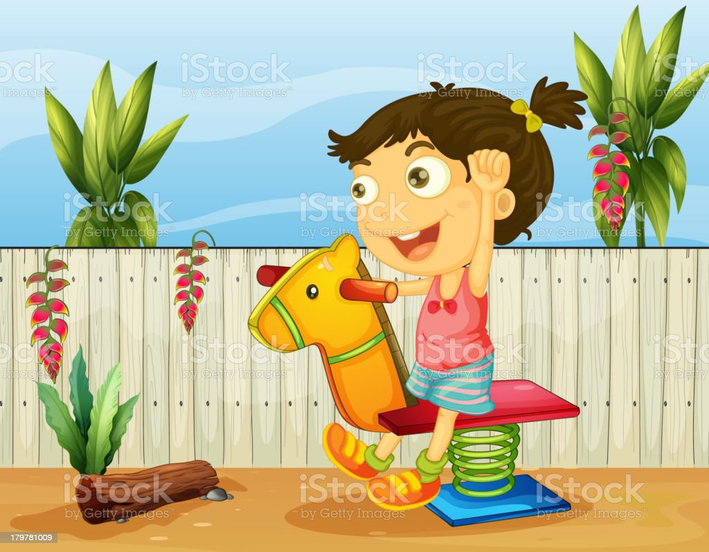 Little girl playing inside the fence royalty-free stock vector art