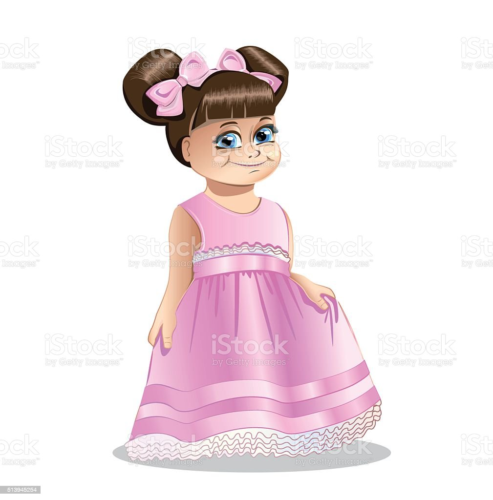 little girl princess vector art illustration