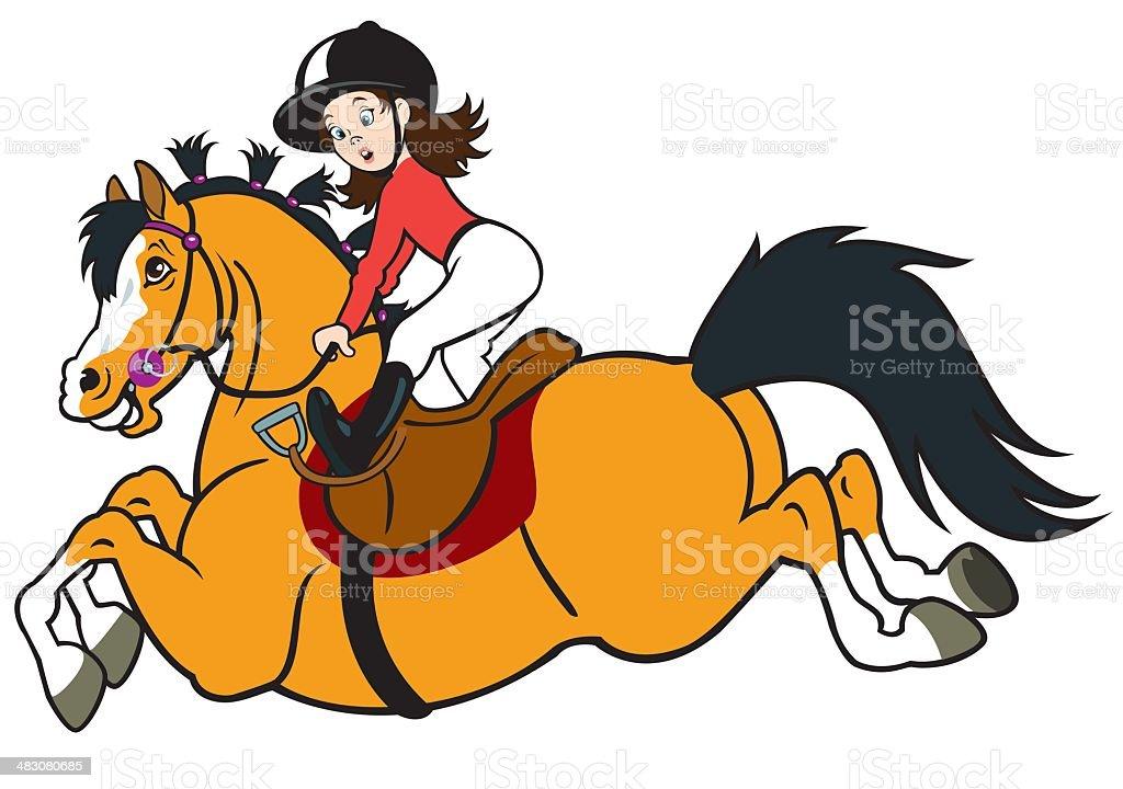 little girl riding horse royalty-free stock vector art