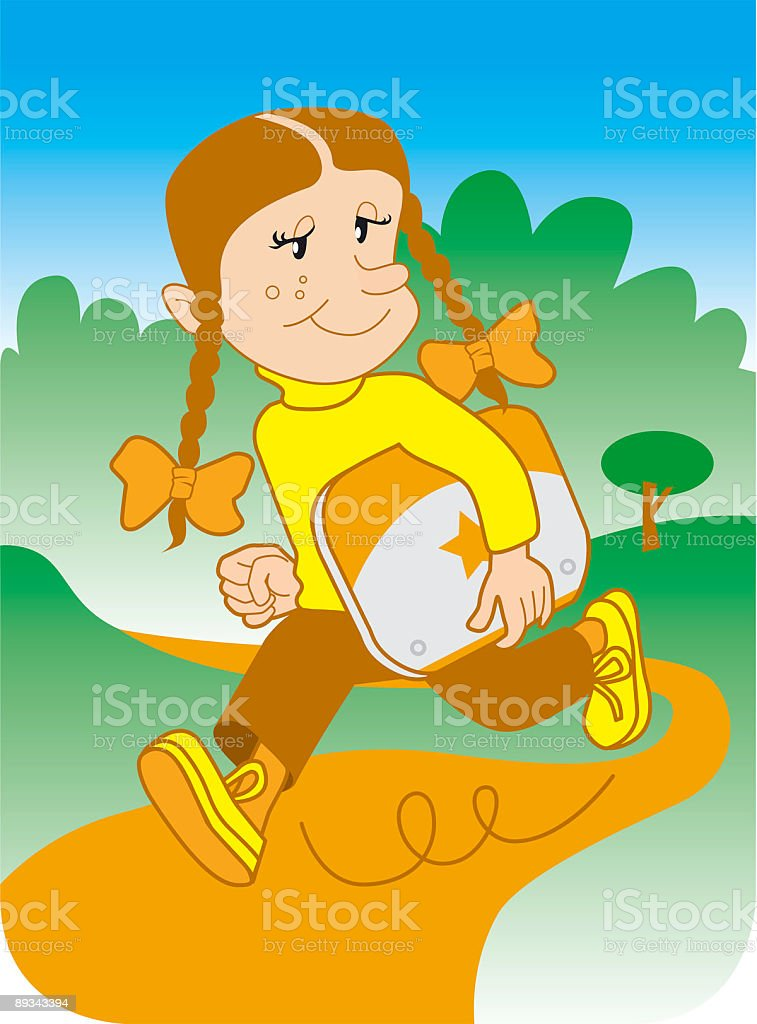 Little Girl running in park carrying laptop under her arm royalty-free stock vector art