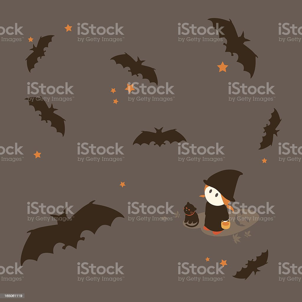 Little Girl Series: Bats flying during Halloween royalty-free stock vector art