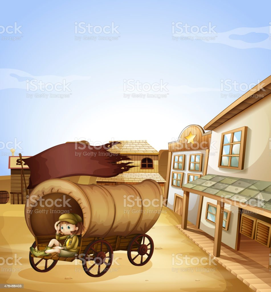 Little girl sitting in the wooden carriage royalty-free stock vector art