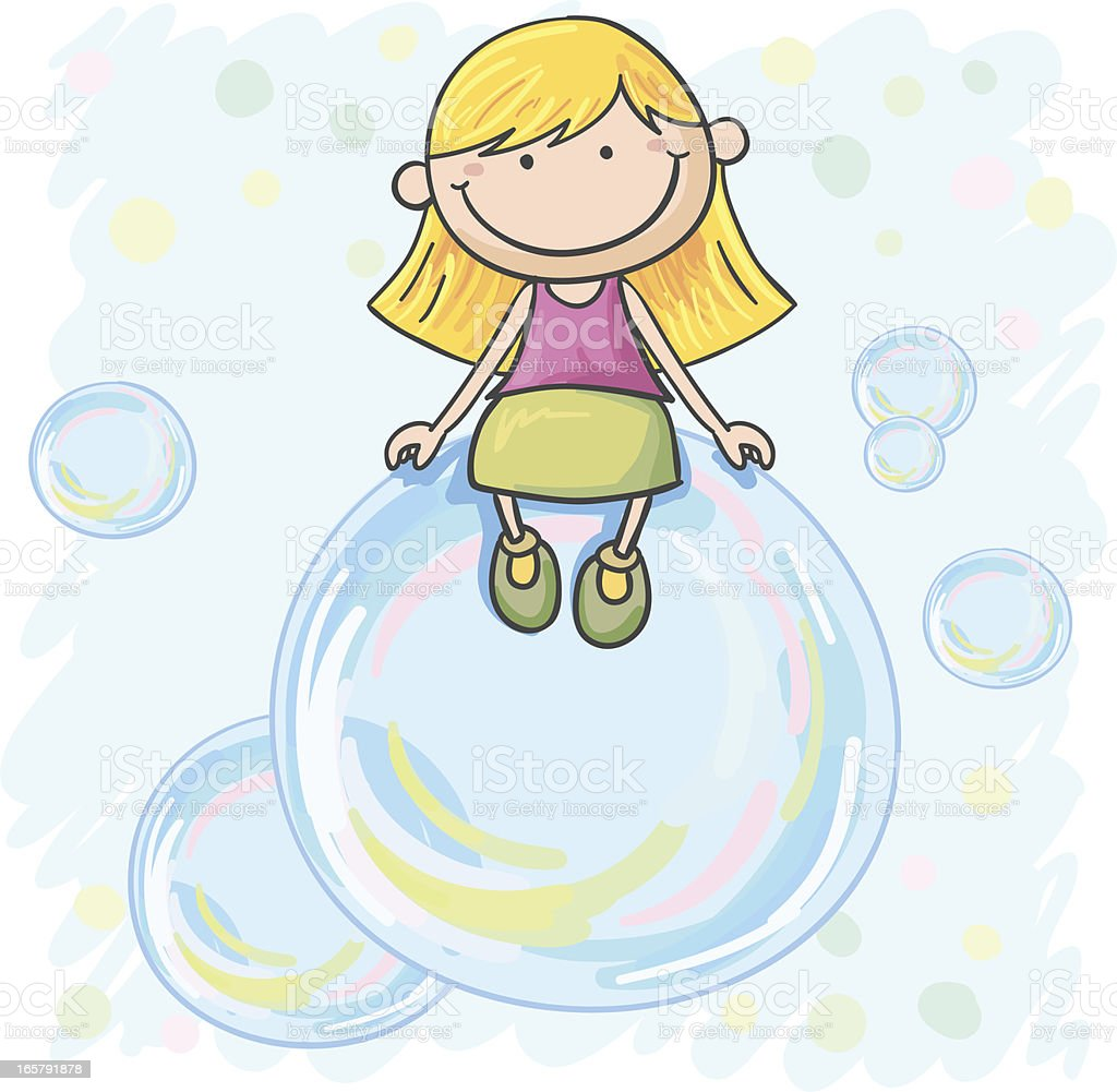 Little girl  sitting on the bubble royalty-free stock vector art