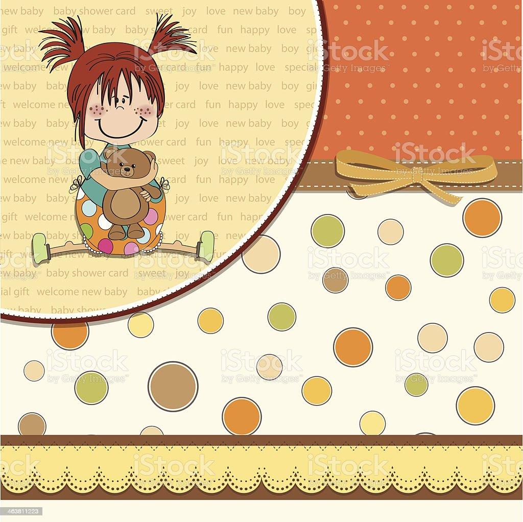 little girl sitting with her teddy bear vector art illustration
