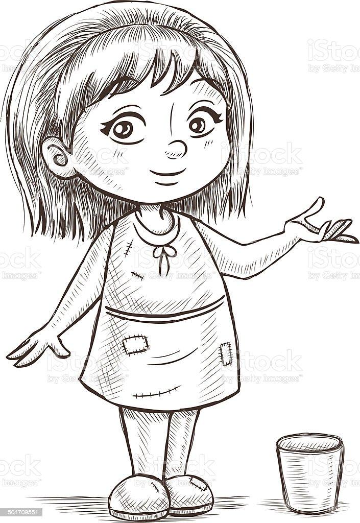 Little Girl Sketch vector art illustration