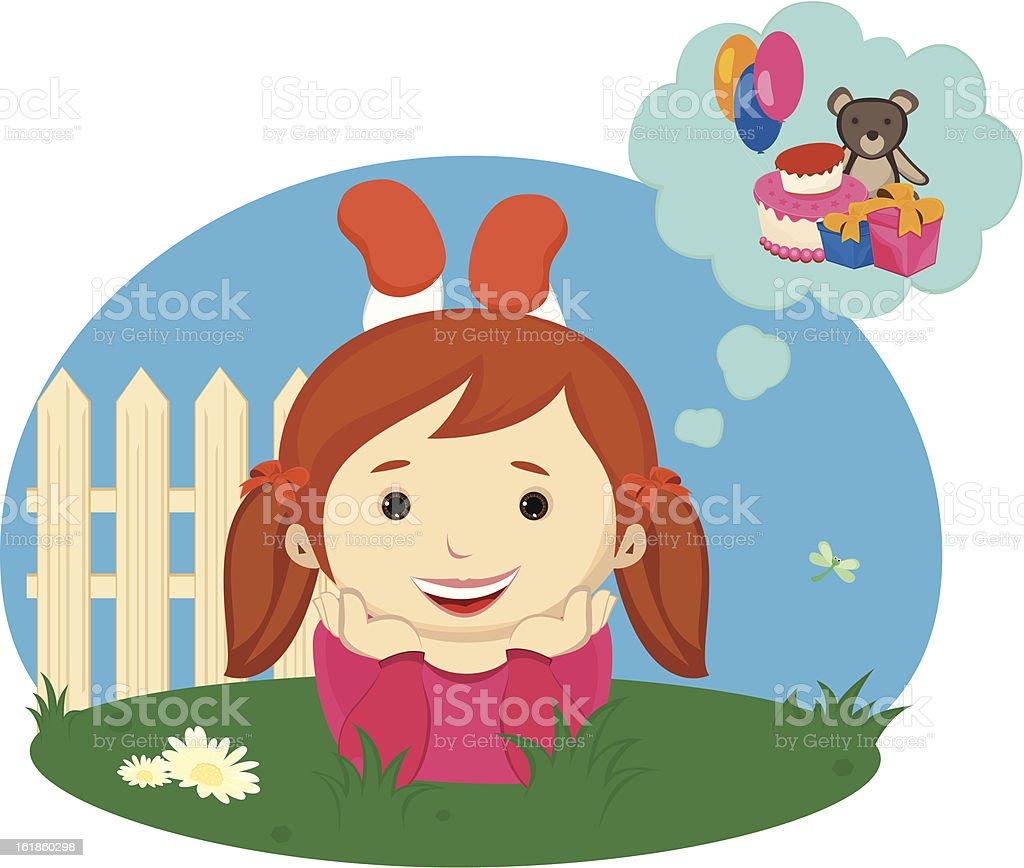 little girl thinking royalty-free stock vector art
