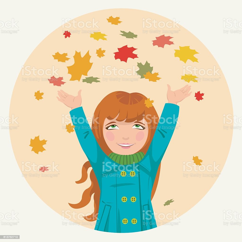 little girl throws up autumn leaves royalty-free stock vector art
