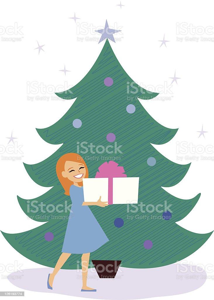 Little Girl under Christmas Tree royalty-free stock vector art