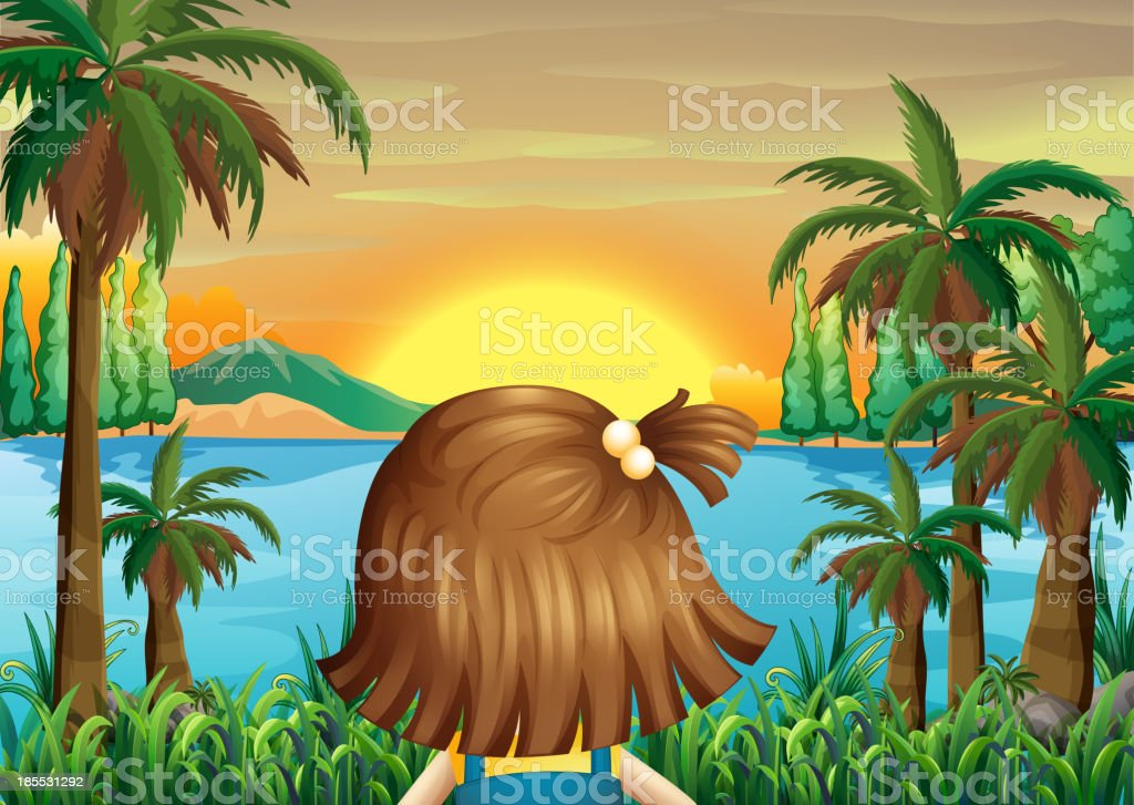 little girl watching the sunset at riverbank royalty-free stock vector art