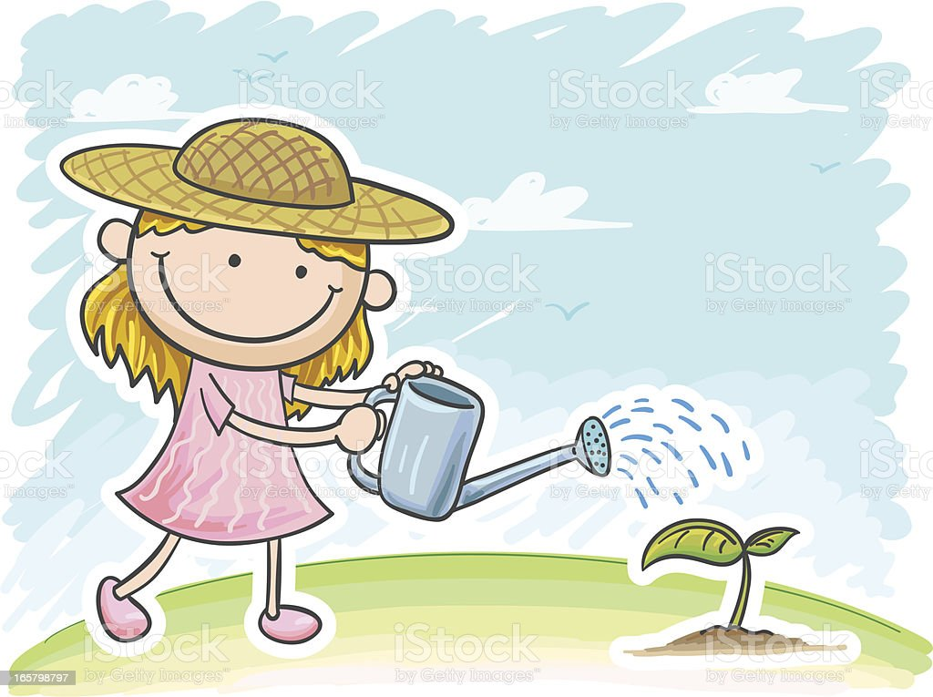 Little girl watering the plants royalty-free stock vector art