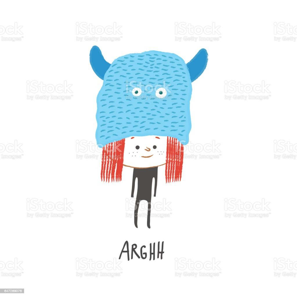 Little girl with a monster hat, vector illustration vector art illustration