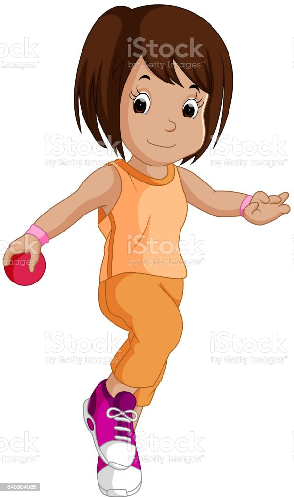 Little girl with a pink ball vector art illustration