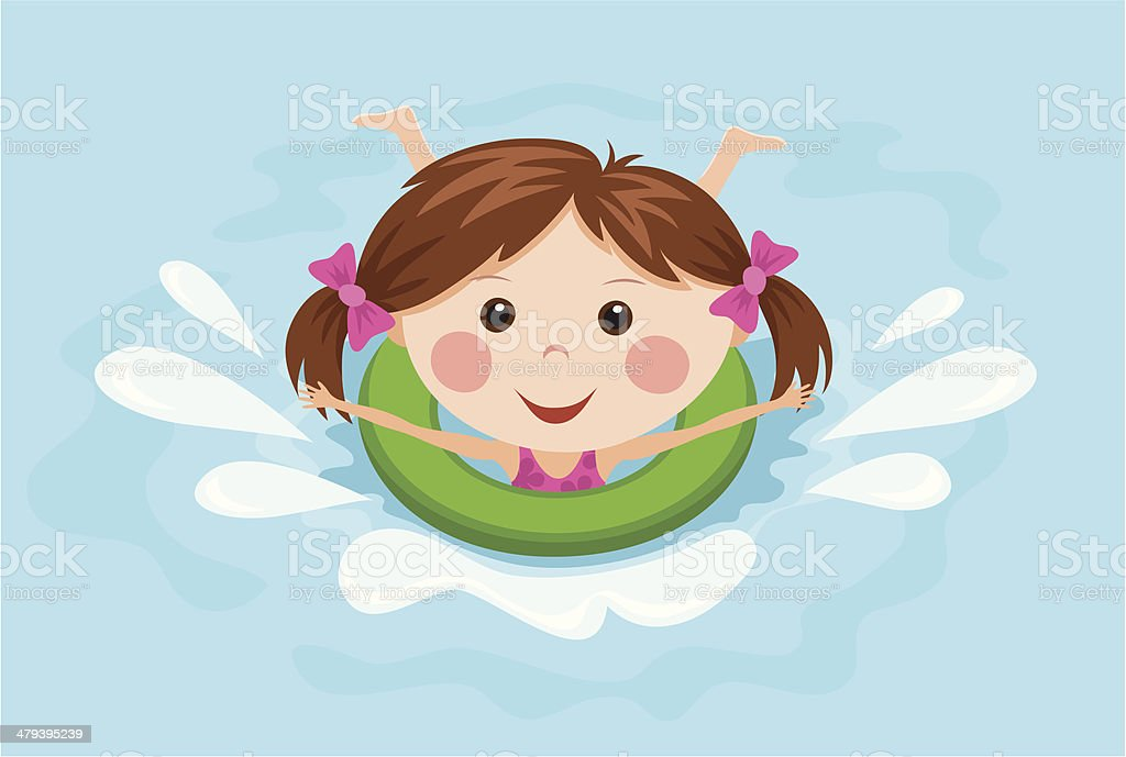 Little girl with a ring splashing in the water vector art illustration