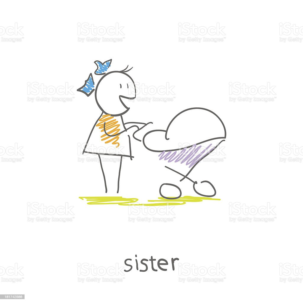 little girl with a sidecar royalty-free stock vector art