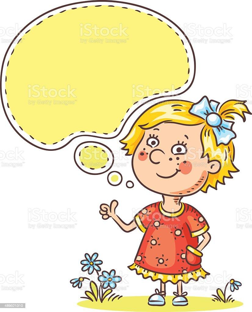 Little girl with a speech bubble vector art illustration