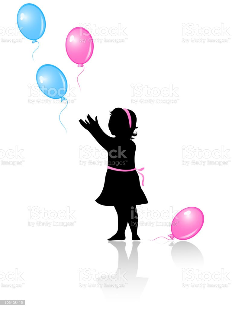 little girl with flying colored balloons royalty-free stock vector art