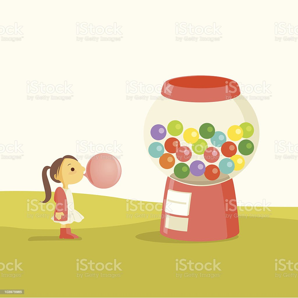 Little girl with Giant bubble gumball machine vector art illustration