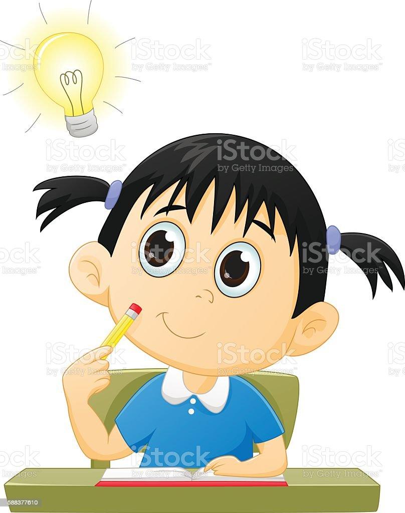 Little girl with good idea vector art illustration