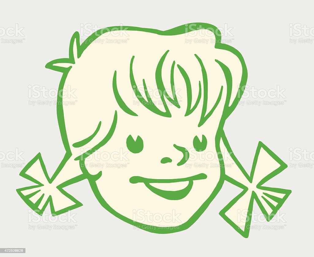 Little Girl With Pigtails vector art illustration
