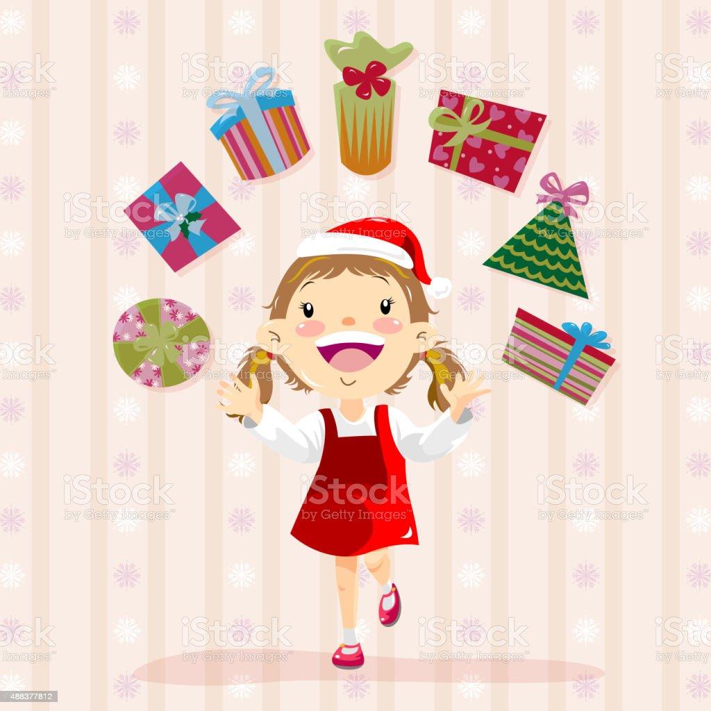 Little girl with Presents vector art illustration