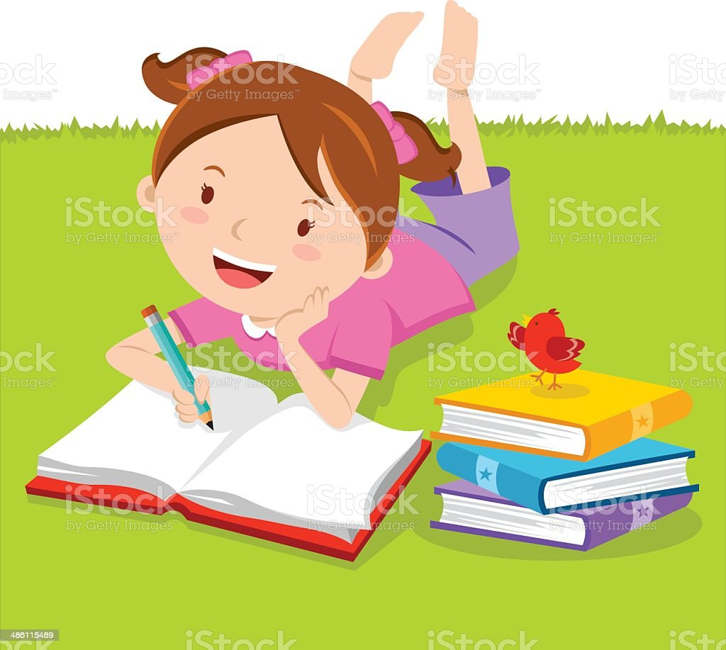 Little girl writing with books. Creative Writing. vector art illustration