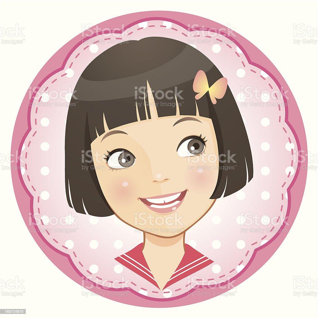 little girl_looking sideways vector art illustration
