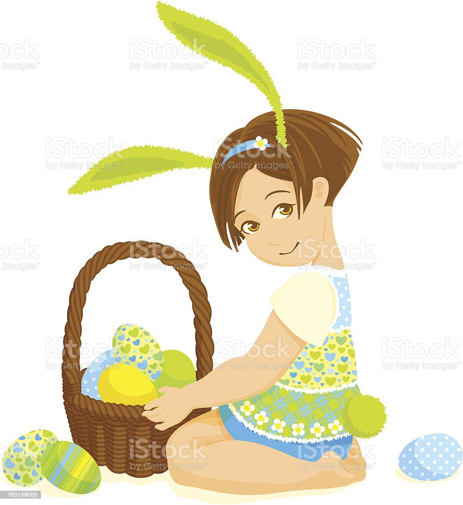 Little girl-bunny with a basket of eggs royalty-free stock vector art